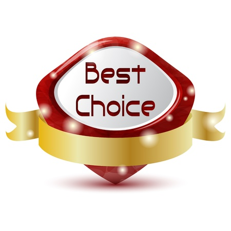 red best choice symbol with golden ribbon Vector