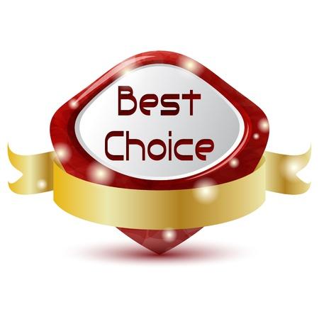 símbolo de elección mejor rojo con cinta dorada