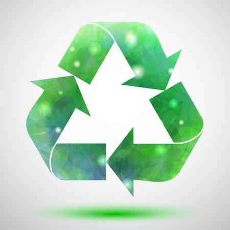 desechos organicos: S�mbolo verde con luces de reciclaje Vectores