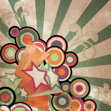 Vintage background with retro style stars and circle
