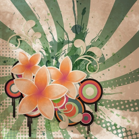 flower age: Vintage background with retro style and flowers
