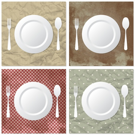 Four table set on crumpled or dirty paper Stock Vector - 10421659
