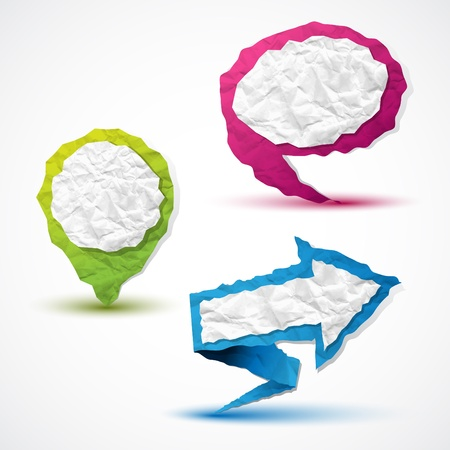 Set of arrow, pointer and bubble speech made in crumpled paper Illustration
