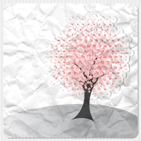 Crumpled paper background with pink flower tree Illustration