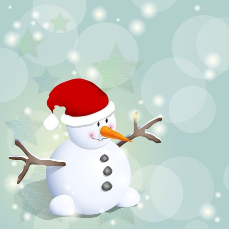 Cute winter background with snowman and stars Vector