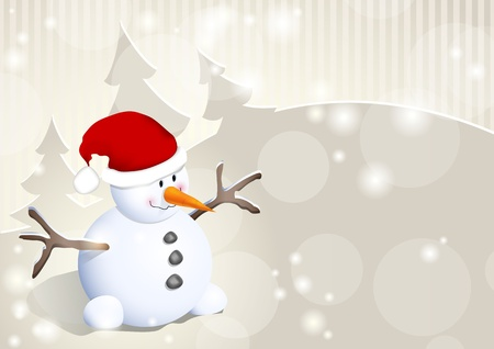 snowman cartoon: Winter background or template for greeting card with snowman and trees Illustration