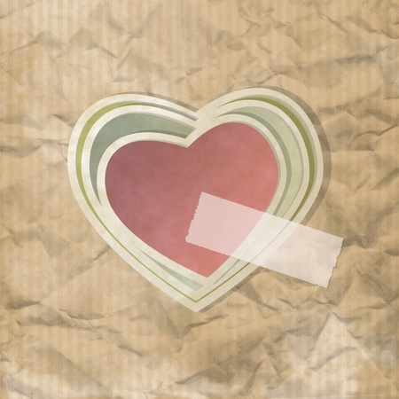 Vintage background on crumpled paper with heart shapes Vector