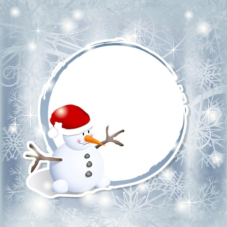 Winter background with snowman and copy space Vector