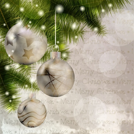 Christmas background with balls, pine and lights Illustration