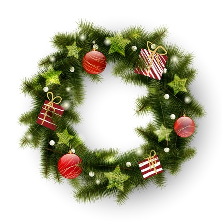 Christmas wreath decorated with balls, stars and presents Vector