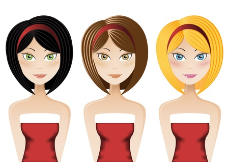 Set of three young ladies wearing Santa Claus dress Vector