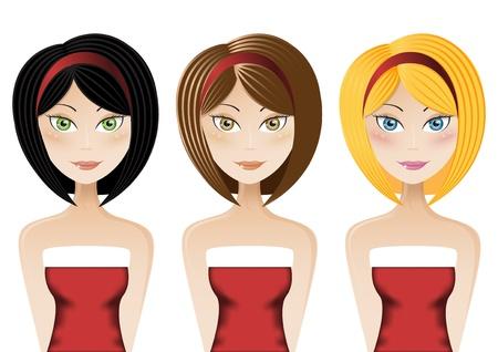 young: Set of three young ladies wearing Santa Claus dress