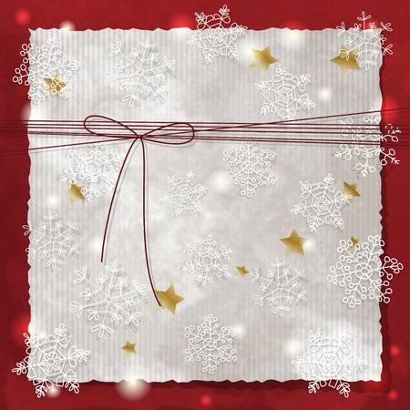 Christmas background with snowflakes and bow Vector