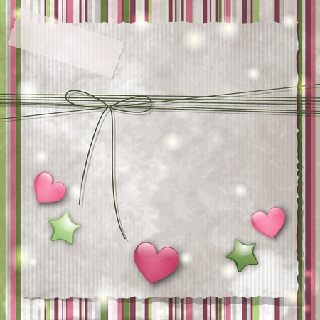 Scrapbooking background with glossy stars and hearts Ilustração