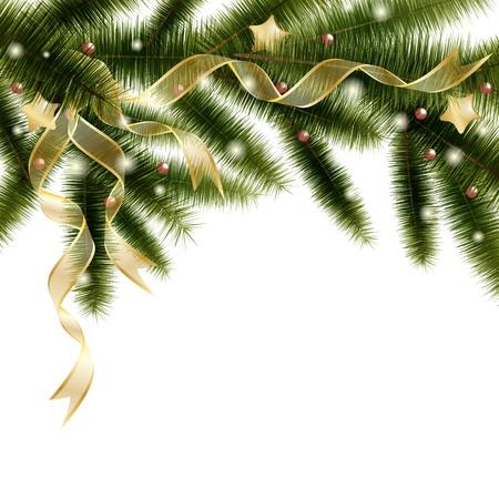 branche sapin noel: D�coratifs branche d'arbre de No�l avec des rubans dor�s et les �toiles Illustration