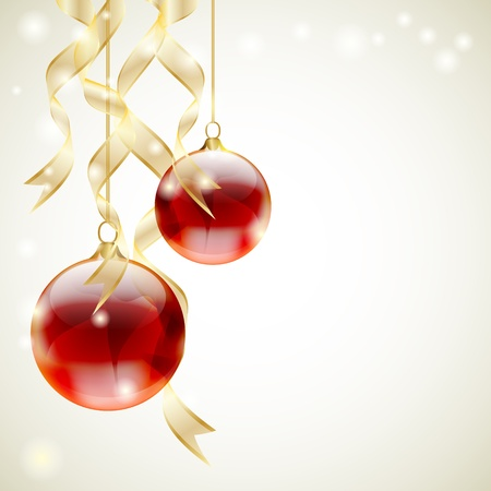 Christmas background with red shiny balls and golden ribbons