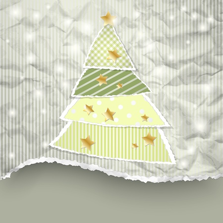 Christmas background with tree made of torn paper Vector Illustration