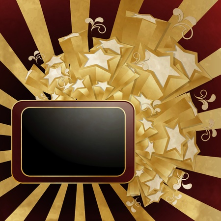 movie poster: Vintage style background with  frame and golden stars