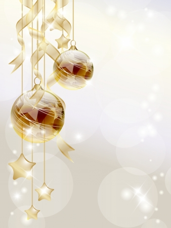 christmas holiday background: Elegant Christmas background with golden baubles and stars Illustration