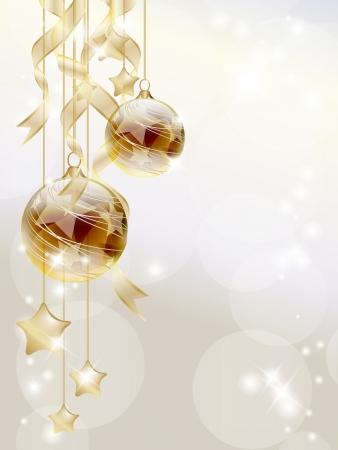 muerdago navide�  � �±o: Elegante fondo de Navidad con adornos de oro y estrellas