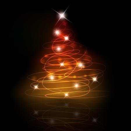 Shining Christmas tree on black background