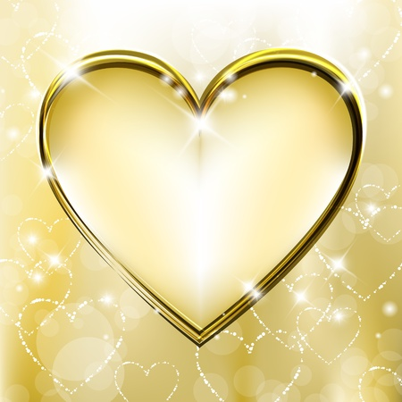 Golden background with shiny and sparkling heart shapes Illustration