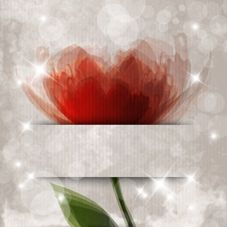 Romantic template design with flower and banner for text