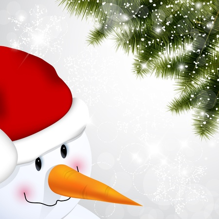 Winter background with close up of a snowman and branch of pine Ilustração