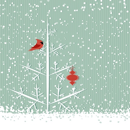 Winter background with red cardinal, christmas tree and decoration Vector