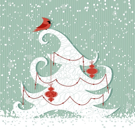 snow cardinal: Winter background with red cardinal and Christmas tree