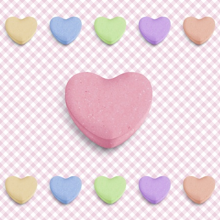 candy hearts: Candy heart background for new girl born announcement