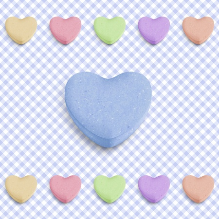 sweet heart: Candy heart background for new boy born announcement