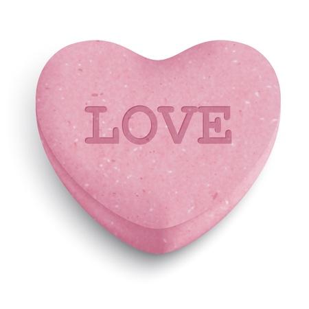 Roze suiker hart snoep met liefde woord