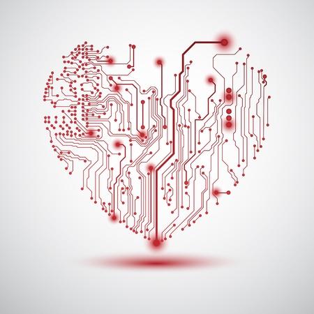 バレンタインのハート形の回路基板と背景
