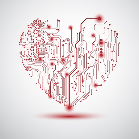 printed circuit board: Valentines background with circuit board on heart shape