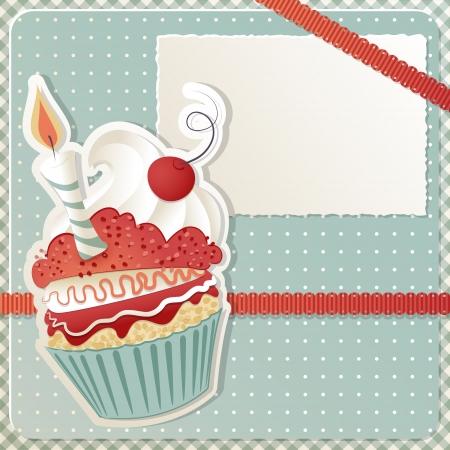verjaardag frame: Verjaardag kaart met grappige cupcake en kopieer de ruimte