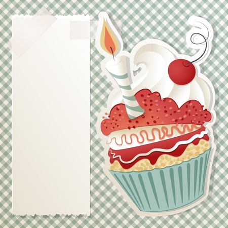 cupcake illustration: Birthday card with funny cupcake and paper note Illustration