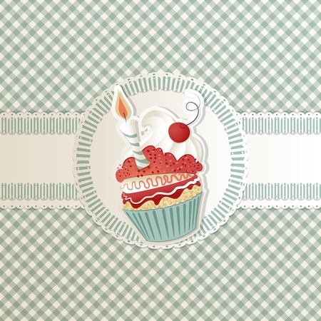 birthday cakes: Birthday card with funny cupcake on ribbon