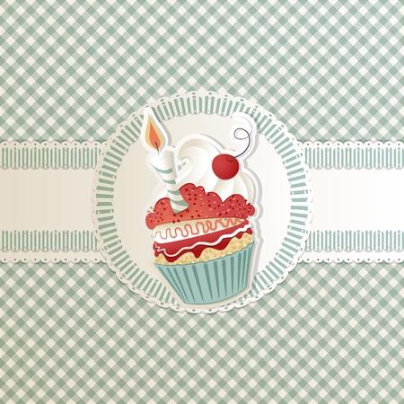 marco cumplea�os: Con tarjeta de cumplea�os cupcake gracioso en la cinta