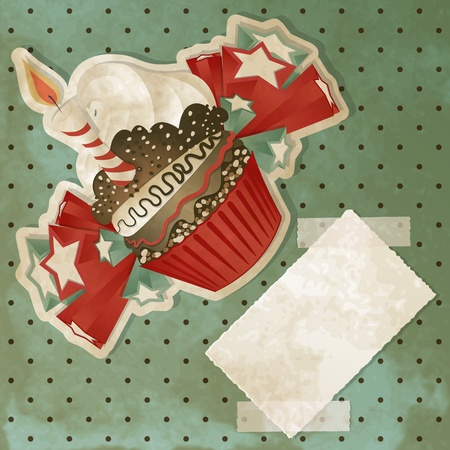 birthday cupcakes: Vintage birthday card with funny cupcake and copy space