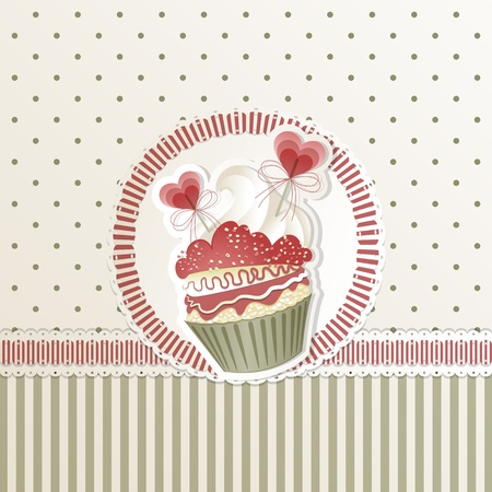 Valentines card with cupcake and hearts decorations