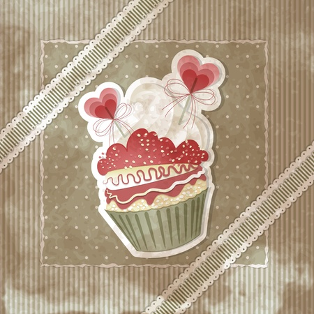 Vintage Valentines card with cupcake and hearts decorations Vector