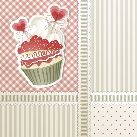 cupcake background: Valentines card with cupcake and hearts decorations