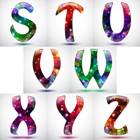 graffiti alphabet: Seto von acht gl�nzenden Buchstaben