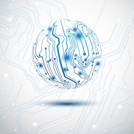 Blue sphere made by electric printed circuit board Vector