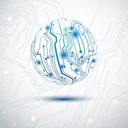 circuitos electricos: Esfera azul el�ctrico hecho por tarjeta de circuito impreso