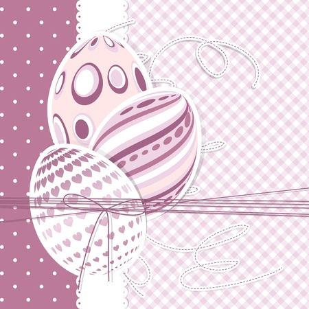 Template for Happy easter card with eggs and ribbon Vector