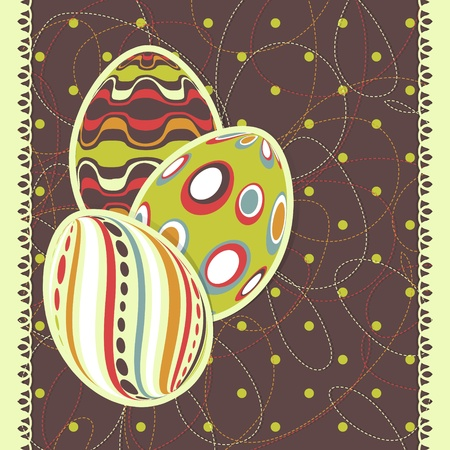 Template for happy Easter card with eggs and scribble effect Vector