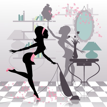 Sexy housewifes silhouette making spring cleaning Vector