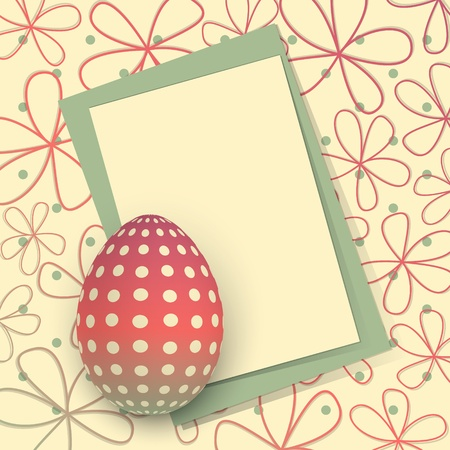 Template for Happy Easter card with egg and copy space Vector